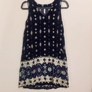 Xhilaration Navy Sleeveless Boho Pocket Dress (S)